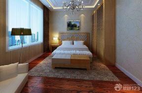 简约风格设计卧室红木色木地板装修效果图