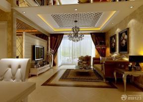 现代欧式风格客厅墙画装修效果图