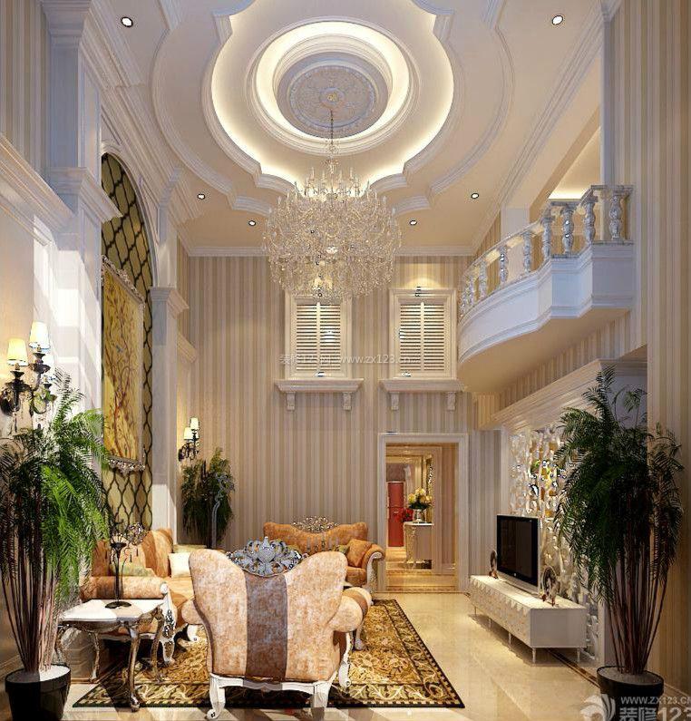 简欧式复式客厅装修设计效果图