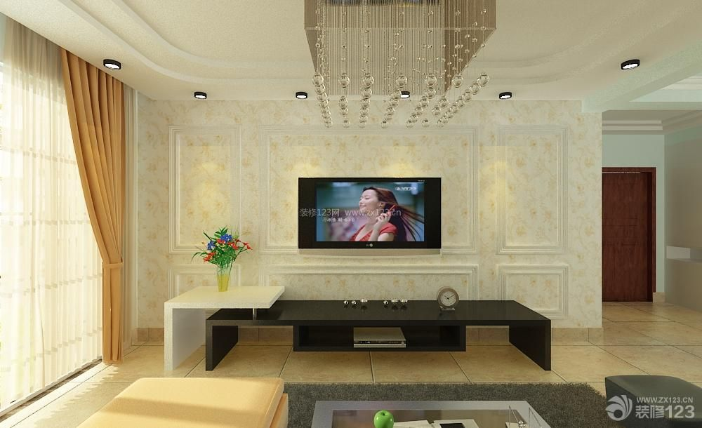 现代欧式风格客厅样板间