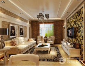 欧式客厅三室两厅一卫装修效果图