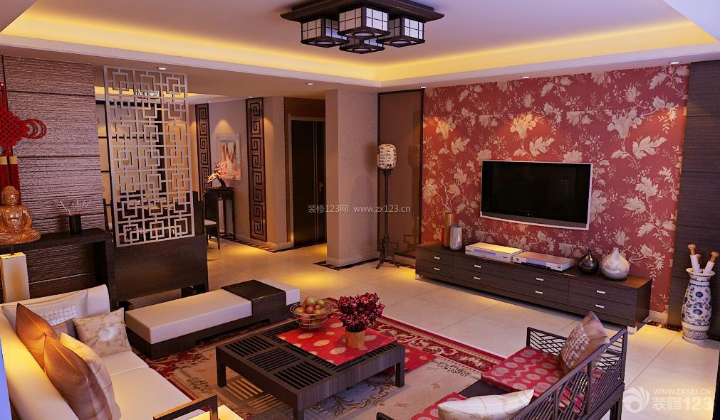 新中式风格客厅装修设计装修实景图
