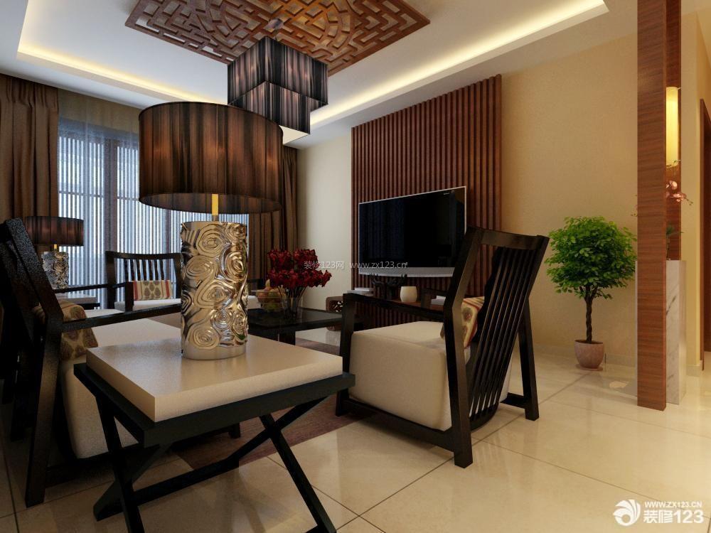 新中式风格客厅装修设计实景图
