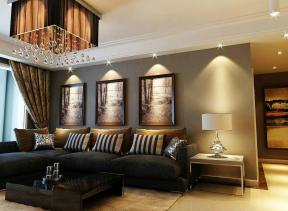 欧式简约最新客厅装修实景图