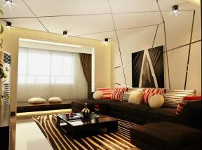 现代简约风格客厅装修实景图