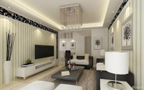 现代简约客厅装修设计电视背景墙效果图欣赏