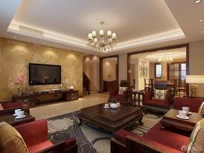现代中式客厅装修设计背景墙装修效果图