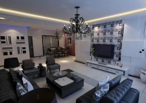 现代简约风格时尚客厅3d背景墙设计效果图