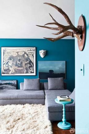 室内装饰客厅蓝色墙面装修效果图片大全