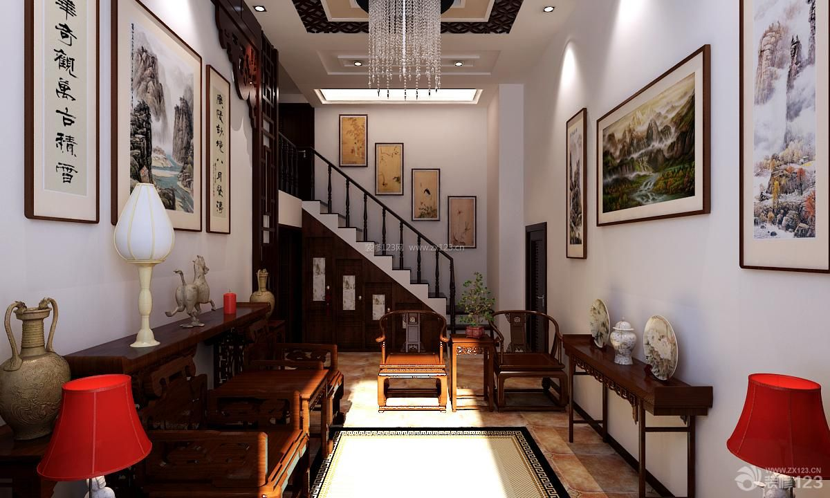 中式风格小跃层小客厅装修设计效果图