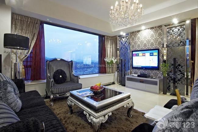 欧式风格客厅装修设计电视背景墙装修效果图