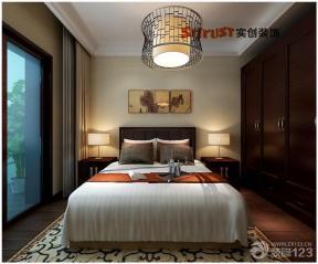 新中式别墅室内设计主卧室装修设计效果图