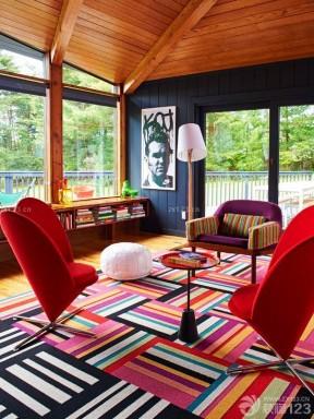 美式风格80平小户型客厅地毯装修效果图