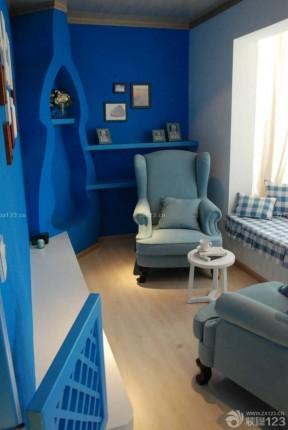 现代风格小书房蓝色墙面装修效果图片
