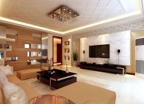 欧式简约大客厅电视背景墙装修设计效果图