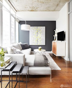 70平米三室一厅客厅转角沙发装修效果图片