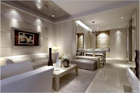 混搭风格两室一厅长方形客厅装修设计效果图