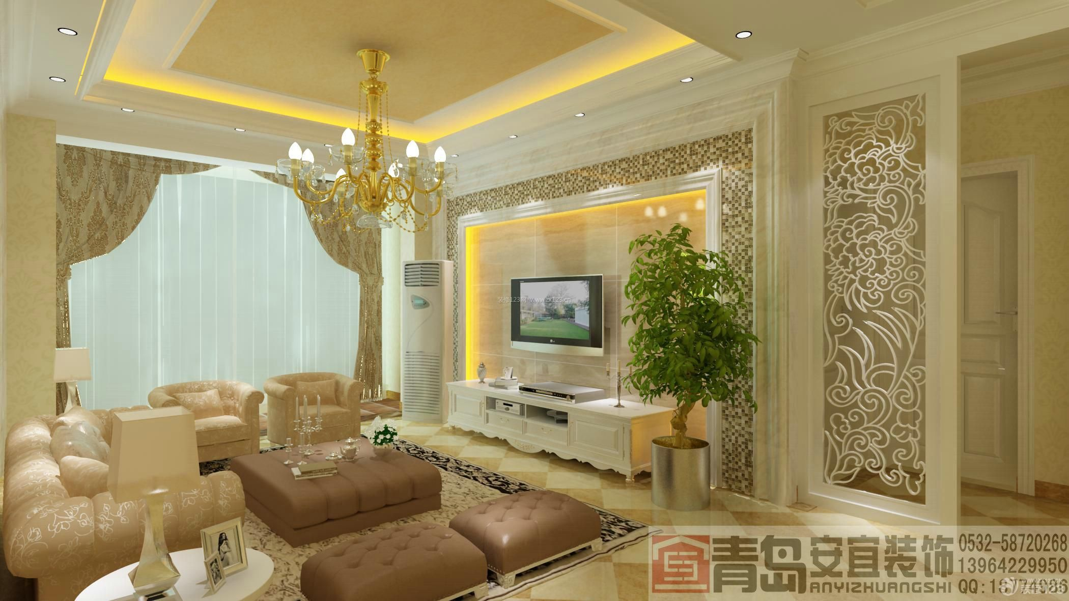现代欧式客厅装修设计装修效果图大全2014图片