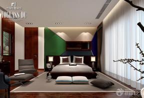 新古典独栋别墅主卧室床头背景墙装修设计效果图