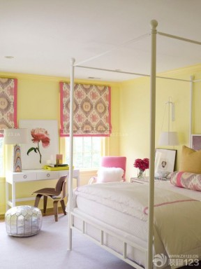 90后女生卧室黄色墙面装修效果图片
