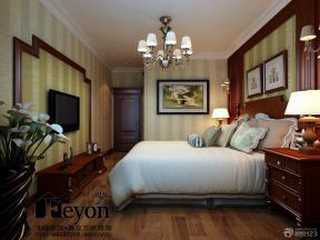 中式装修风格主卧室床头背景墙装修图片