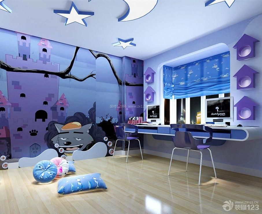 现代简约室内儿童书房装修效果图